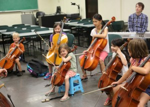 cello class at Greater Austin Suzuki Institute