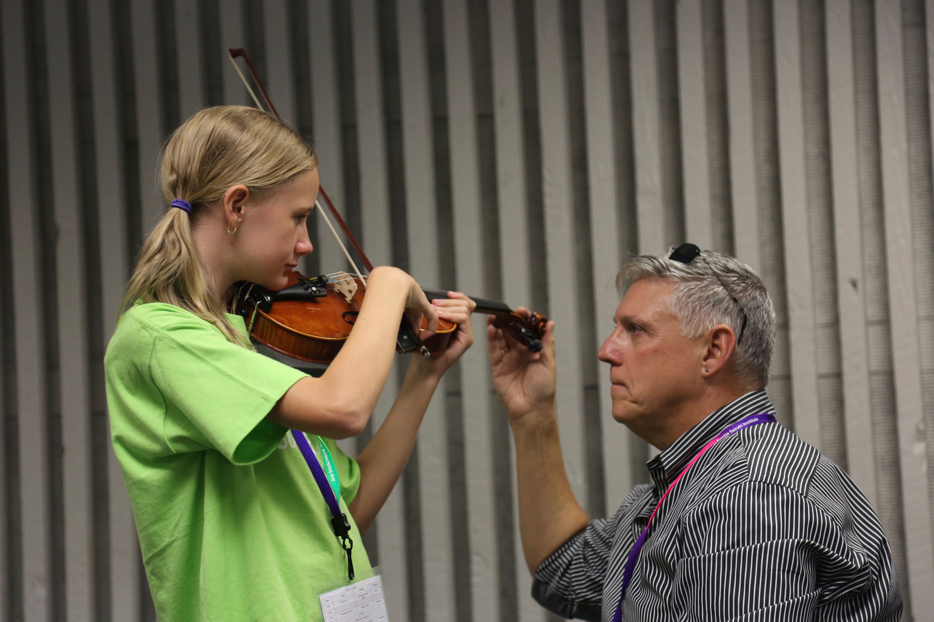violin master class at Greater Austin Suzuki Institute
